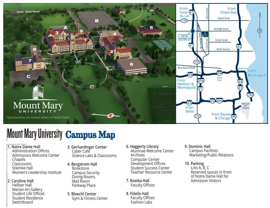 Mount Mary University >> Campus Map Mount Mary University
